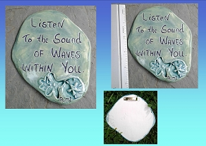 Rumi Inspirational Quote Wall Decor Sea Green Ceramic Decorative Tile Wall Art Listen to the Sound