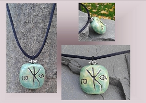 Men's Bind Rune Necklace Norse Turquoise Pendant Protection Strength Ceramic Stone