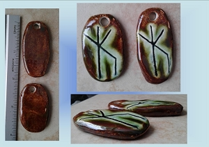 Set 2 Bind Rune Ceramic Pendants Moss Green Brown Norse Viking Beads Protection Strength