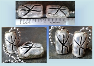 et of 2 Rune Ceramic Fan Lamp Pulls Bind Rune Norse Viking Symbols Protection Strength Amulets