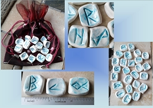 25 Piece Rune Stones Porcelain Viking Oracle Turquoise Ceramic Nordic Scandinavian Rune of Odin Hand Carved Rustic