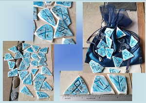 25 Piece Rune Stones Porcelain Viking Oracle Turquoise Ceramic Nordic Scandinavian Rune of Odin Hand Carved Rustic .2