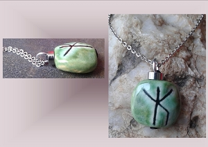 Men's Bind Rune Ceramic Necklace Sea Turquoise Viking Runestone Pendant Strength Protection