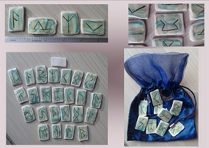 25 Piece Porcelain Viking Runes Oracle Sea Turquoise Ceramic Nordic Scandinavian Rune of Odin Hand Carved Rustic