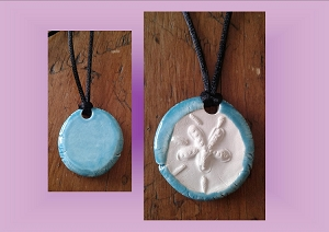 Sand Dollar Necklace Turquoise Aromatherapy Clay Pendant Essential Oil Diffuser Disc Ceramic Boho Beach Surfer