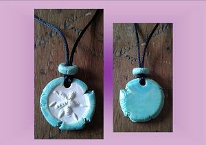 Sand Dollar Necklace Turquoise Aromatherapy Clay Pendant Essential Oil Diffuser Disc Ceramic Boho Beach Surfer  .2