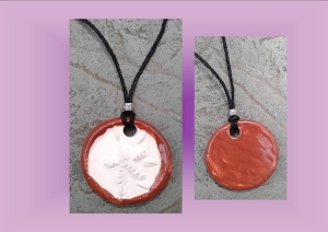 Sand Dollar Necklace Desert Red Aromatherapy Clay Pendant Essential Oil Diffuser Disc Ceramic Boho Beach Surfer