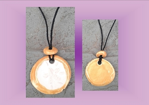 Sand Dollar Necklace Yellow Gold Aromatherapy Clay Pendant Essential Oil Diffuser Disc Ceramic Boho Beach Surfer