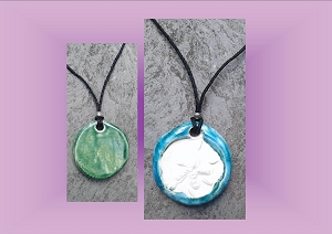 Sand Dollar Necklace Turquoise Green Aromatherapy Clay Pendant Essential Oil Diffuser Disc Ceramic Boho Beach Surfer