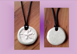 Sand Dollar Necklace Aromatherapy Clay Pendant Essential Oil Diffuser Disc Ceramic Boho Beach Surfer