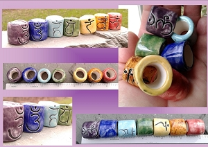 7 Sanskrit Chakra Macrame Beads Ceramic Dread Beads Dreadlocks Large Hole Rainbow Beads