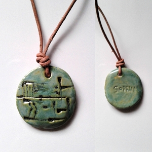 SARRUM Cuneiform Necklace KING Sumerian Pendant Sea Green Ceramic Amulet Sigil