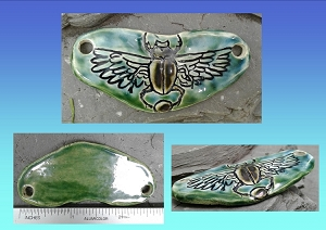 Egyptian Scarab Pendant Ceramic Hieroglyph Winged Disc Amulet Turquoise Green Focus Bead for Necklace Bracelet