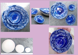 Set 3 Mini Porcelain Ring Dishes Sea Pool Cobalt Blue Beach Decor Ocean Seaglass Ceramic Candy Dish