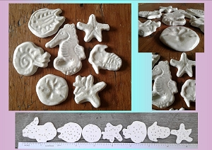 7 Sea Creatures Cabochons Fine Porcelain Mother of Pearl Seahorse Starfish Sand Dollar Nautilus Trilobite Ceramic Mosaics