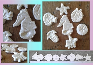 7 Sea Creatures Cabochons Fine Porcelain Peach Mother of Pearl Seahorse Starfish Sand Dollar Nautilus Trilobite Ceramic Mosaics