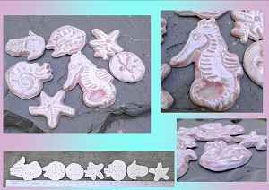 7 Sea Creatures Cabochons Fine Porcelain Pink Mother of Pearl Seahorse Starfish Sand Dollar Nautilus Trilobite Ceramic Mosaics