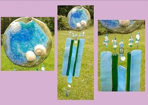 Sea Glass Wind Chime Ocean Wave Caribbean Turquoise Teal Ceramic Sun Catcher Seashell Fused Glass Crystal Sea Surf Beach Decor