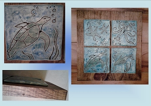 Turquoise Blue Ocean Sea Creatures Ceramic Tile Wall Art Pottery Square Tiles Pine Stained Wood Octopus Turtle Dolphin Starfish
