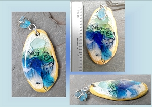 Blue Turquoise Sea Glass Pendant Ceramic Focal Bead Surfer Boho Beach Amulet for Necklace