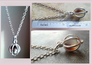 Silver Brown Coffee Sea Glass Locket necklace Boho Beach Pendant