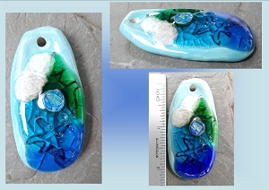Surfer Sea Glass Ceramic Pendant Beach Boho Turquoise Crystal Sea Amulet Blue Apatite Ocean