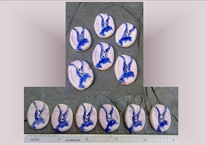 6 Ceramic Buttons, Seagull Pottery Buttons, Blue Lilac Small Buttons, Ceramic Stone Buttons, Handmade Clay Buttons