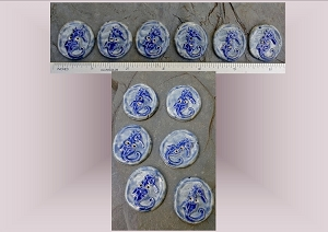 6 Ceramic Buttons, Seahorse Pottery Buttons, Blue Seahorses, Ocean Sea Stone Buttons, Handmade Clay Buttons