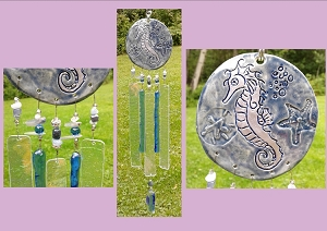 Seahorse Glass Wind Chime Silver Blue Ceramic Chimes Pottery Garden Ornament Mobile Sun Catcher Beach Decor
