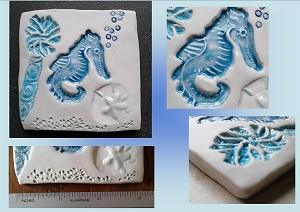 Seahorse Porcelain Decorative Tile Turquoise Ocean Beach Wall Decor Sea Creatures Mosaic Art Fine Porcelain