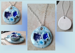 Porcelain Seaglass Necklace Barnacle sea Pool Turquoise Blue Pendant Ceramic Beach Surfer Amulet Boho