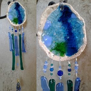 Seaside beach pool Glass Wind Chime Pottery Chimes Turquoise & Blue .3
