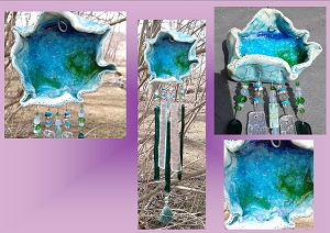 Turquoise Teal Sea Pool Glass Wind Chime Ceramic Ocean Water Sun Catcher Fused Glass Sea Surf Beach Decor  (COPY)