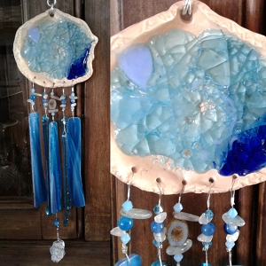 Seaside beach pool Glass Wind Chime Pottery Chimes Turquoise & Blue