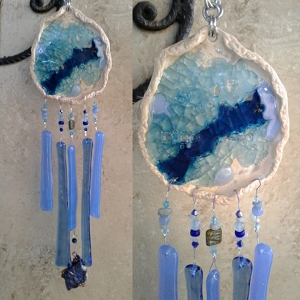 Seaside beach pool Glass Wind Chime Pottery Chimes Turquoise & Blue .2