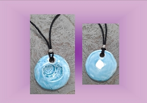 Seashell Necklace Caribbean Turquoise Aromatherapy Clay Pendant Essential Oil Diffuser  Shell Disc Ceramic