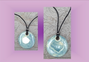 Seashell Necklace Sea Turquoise Aromatherapy Clay Pendant Essential Oil Diffuser  ClamShell Disc Ceramic