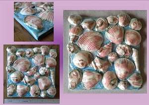 Seashells Ceramic Tile Decorative Ocean Turquoise Mother of Pearl Wall Decor Beach Mosaic Sea Art