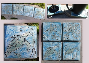 4 Ocean Coasters, Sea Creatures Ceramic Tiles, Square Sea Coasters, Teal Pottery Coasters, Beach Decor, Stoneware, Bathroom Ceramic Tiles