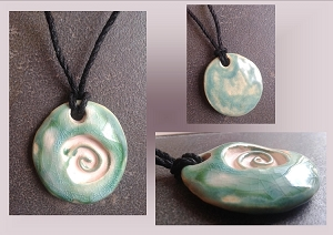 Sea Turquoise Sacred Spiral Ceramic Aromatherapy Necklace Essential Oil Diffuser Pendant