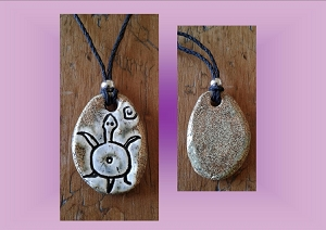 Sea Turtle Necklace Hawaiian Pendant Ceramic Petroglyph Grey Brown Pacific Cave Art Ancient Rock Drawings