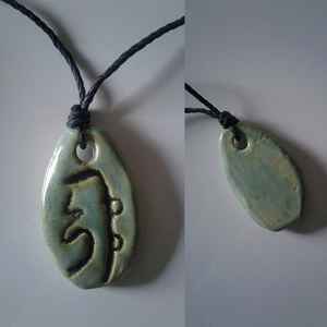 Sei Hei Ki Necklace Reiki Harmony Symbol Sea Green Ceramic Usui Pendant