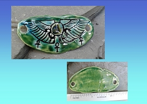 Serpent Pendant Ceramic Hieroglyph Winged Disc Amulet Turquoise Green Focus Bead for Necklace Bracelet