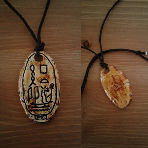 Seth Necklace Egyptian Cartouche Hieroglyph Amulet God of War Chaos Storms Ceramic Pendant