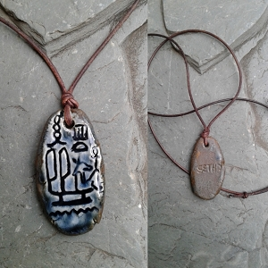 Seth Necklace Egyptian Cartouche Hieroglyph Amulet God of War Chaos Storms Blue Bronze Ceramic Pendant