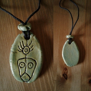 Taino Shaman Necklace Sea Green Ceramic Petroglyph Pendant Caribbean Art