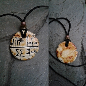 Cuneiform HUNTER Necklace Sumerian Pendant Copper Sand Ceramic SHARUR Amulet