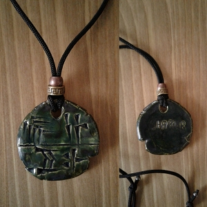 Cuneiform HUNTER Necklace Sumerian Pendant Pewter Green Ceramic SHARUR Amulet