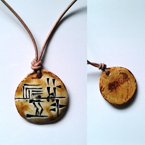 Cuneiform HUNTER Necklace Sumerian Pendant Ceramic SHARUR Amulet