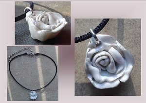 White & Silver Porcelain Rose Choker Pendant Necklace Ceramic Flower .2